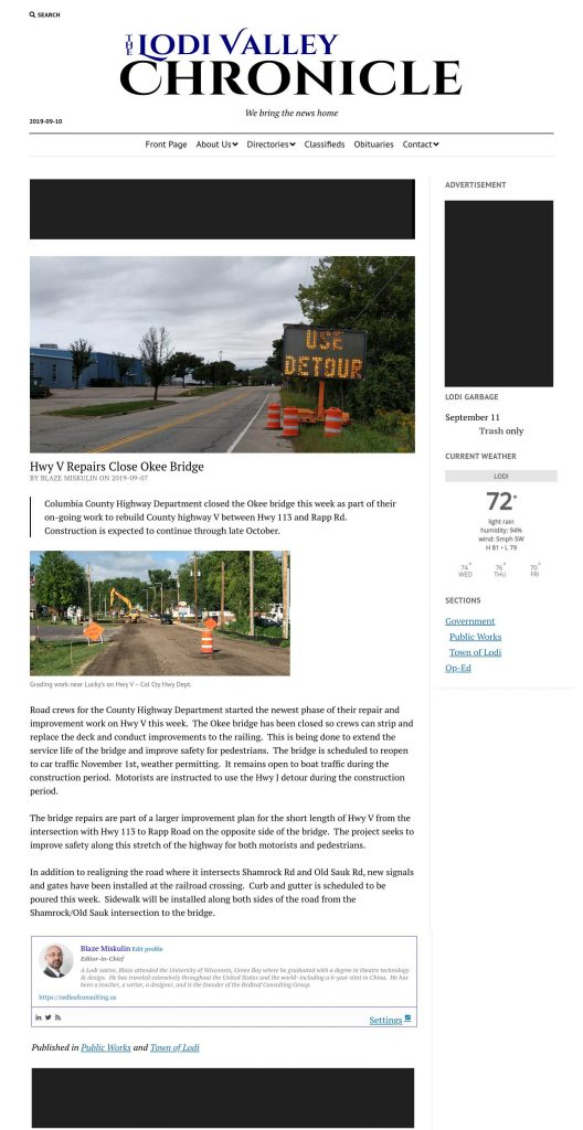Lodi Valley Chronicle advertisement placement for pages and posts (stories)