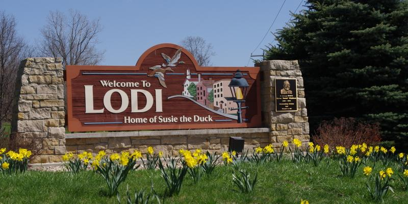 Welcome sign, for City of Lodi, WI