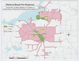 Response map for new Lodi Fire Station with Satellite Station in Harmony Grove