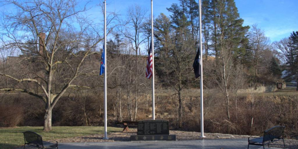 Flags at half staff at Lodi's Veteran's Memorial Park