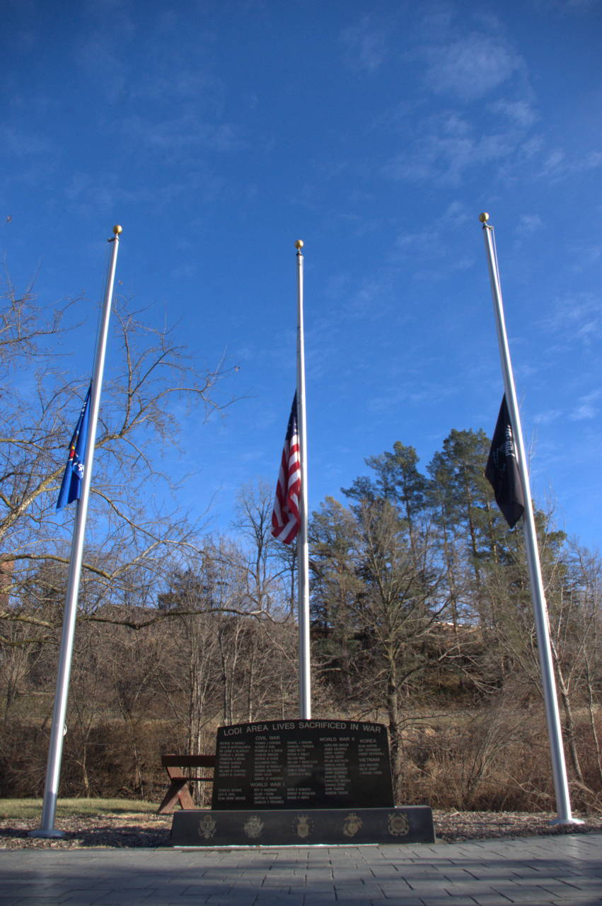 Flags at half-staff in the Lodi Veterans' Memorial Parkl