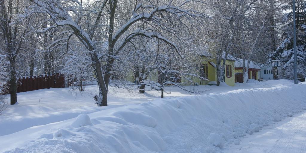 Snowy street in Lodi WI