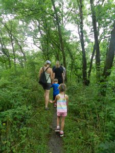 a family hike on the Trail