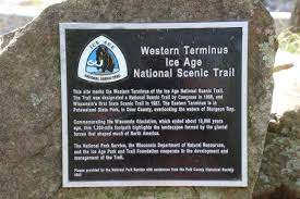 The marker at the western terminus of the Ice Age Trail